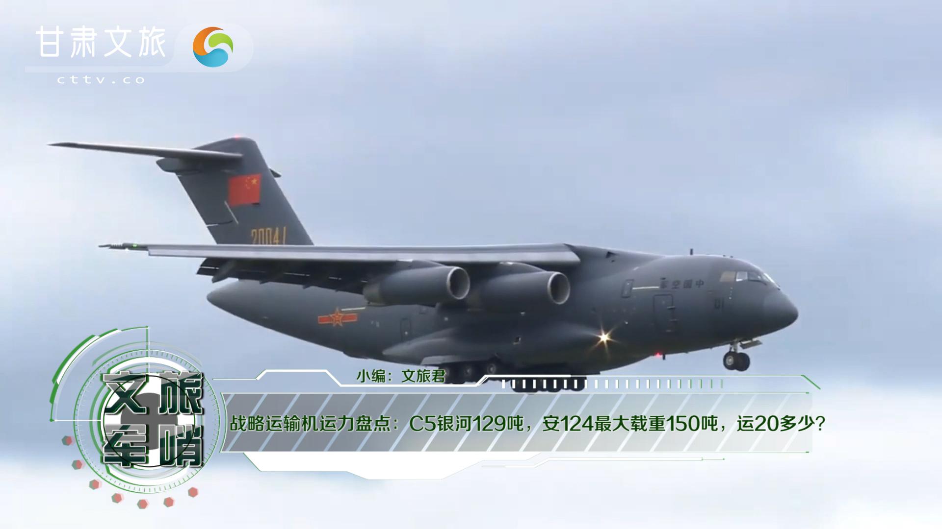战略运输机运力盘点:C5银河129吨,安124最大载重150吨,运20多少